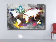 Bright hip colors world map wall canvas gallery wrap adhesive wall grunge world map wall canvas gallery wrap adhesive wall color black gray white by wallmac on gumiabroncs Choice Image