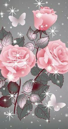 By Artist Unknown. Flower Phone Wallpaper, Heart Wallpaper, Butterfly Wallpaper, Cellphone Wallpaper, Pink Wallpaper, Wallpaper Backgrounds, Iphone Wallpaper, Beautiful Flowers Wallpapers, Beautiful Rose Flowers