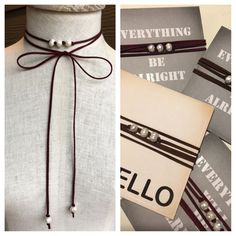 Maroon or chocolate brown lariat necklace with pearls