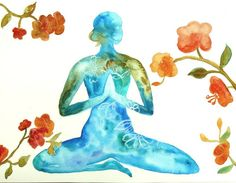 Woman in harmony 2 abstract original watercolor painting, Yoga Art
