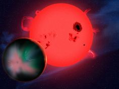 This artist's conception shows a hypothetical alien world orbiting a red dwarf star.  Many red dwarfs may have extreme space weather that might make it difficult for life to develop or survive on a planet in the habitable zone. (Image by David A. Aguilar, CfA)