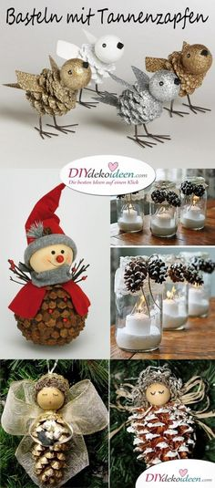 Christmas Decorations with Pine Cones - Wonderful DIY Ba .- Weihnachtsdeko basteln mit Tannenzapfen – Wundervolle DIY Bastelideen Christmas decoration with pine cones – Wonderful DIY craft ideas - Christmas Centerpieces, Christmas Decorations To Make, Kids Christmas, Holiday Crafts, Christmas Bulbs, Craft Decorations, Burlap Christmas, Fall Crafts, Easter Crafts