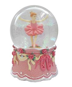 Lightahead Ballerina.Dancing Ballet Girl Music Water Globe with Inside Figurine Rotating playing tune Top Decoration
