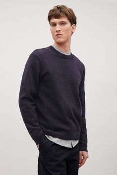 COS image 4 of Knitted sweatshirt in Navy