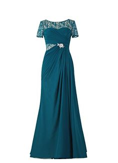 Diyouth Illusion Lace Bateau Neckline Long Mother of the Bride Dress Ink Blue Size 14
