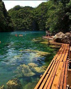 lake kayangan and wooden walkway, philippines