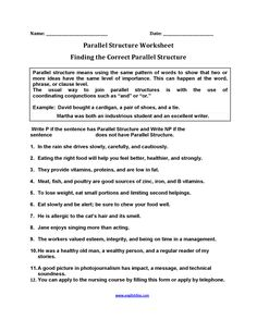 Identifying Parallel Structure Worksheets | English | Pinterest ...