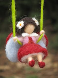 Needle felted rainbow children mobile babies friendly waldorf inspired