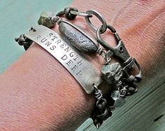 bracelets, dremel / punch words into metal, stones, beads, found objects, etc. ornamental.typepad.com ****