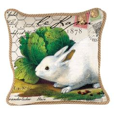 Michel Design Works Decorative Square Throw Pillow, 18 x 18-Inch, Bunnies >>> Unbelievable  item right here! (This is an amazon affiliate link. I may earn commission from it)