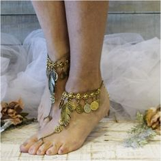 Let your free spirit soar wearing these boho gypsy antique gold barefoot sandals. Our handmade boho sandal has lots of movement, multi layers of coins, charms and leaves. The perfect foot jewelry for