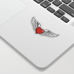 Stickers can make anything cool - like laptops, notebooks, phones or windows. We kiss cut ours to allow for more intricate designs, so you just need to peel off the back and stick away. Available in four sizes and two styles - white or transparent. Both styles feature a clear calendered vinyl surface with permanent acrylic adhesive, and are produced with an eco solvent printer and inks. #love #winged #heart #red #denim #rock #freedom #mia #society6 #Sticker