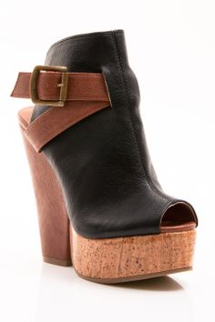 Gomax Limited Edition-02 Cork Heels in Black - Beyond the Rack