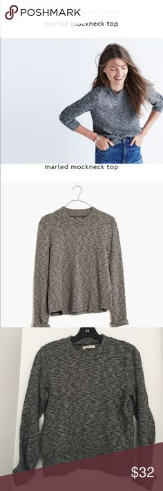 Madewell Marled Mockneck Top PRODUCT DETAILS So (SO) cozy and PJ-status comfy, this marled top has a sleek high crewneck. Safe to say we're in love.  Slightly cropped fit. Cotton. Hand wash. Worn once. Perfect condition. Madewell Tops Sweatshirts & Hoodies