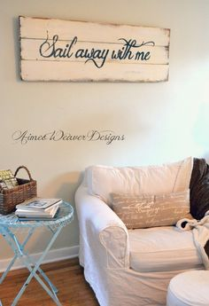 Sail away with me | sailing quote | wood sign by Aimee Weaver Designs
