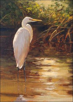 Mary Erickson | Autumn Egret | 8x6 inches | Oil featured on blog: http://emptyeasel.com/2012/02/22/mary-erickson-vibrant-coastal-paintings/