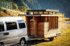 Currently, Japanese regulations make living in the home relatively simple and there are many beautiful camping grounds throughout Japan for the home to park, as well as Michi–no–eki (Roadside Stations) where the house can rest up for the night. Shed To Tiny House, Best Tiny House, Tiny House Plans, Tiny House On Wheels, Japanese Style Tiny House, Timbercraft Tiny Homes, Tiny House Builders, Japanese Interior Design, Small Cottages