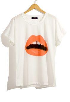 Neon Lip Print T-shirt    #Chicwish
