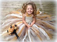 Victorian Old World Ivory, Gold, & Chocolate Brown Flower Girl.. via Etsy.