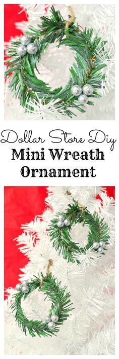 Make this easy diy mini wreath ornament to hang on the christmas tree or for Christmas decor. Simple and made with dollar store materials. Popsicle Stick Christmas Crafts, Christmas Crafts For Toddlers, Diy Christmas Gifts, Holiday Crafts, Christmas Decorations, Christmas Ideas, Christmas Garden, Party Crafts, Christmas Tablescapes