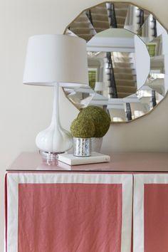 Alisha Gwen - living rooms - Milano Snow Glass Lamp, round mirror, round mirror framed mirror, round faceted mirror, white glass lamp, white...