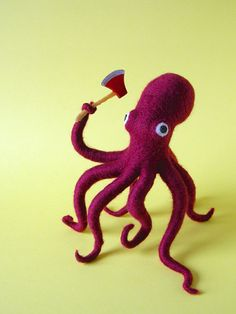 Ax Wielding Octopus by Hine Mizushima, via Behance. For inspiration (minus the axe! Wet Felting, Needle Felting, Le Kraken, Motif Art Deco, Felt Art, Felt Animals, Sea Creatures, Sell On Etsy, Felt Crafts