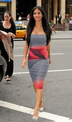 Nicole Scherzinger in a Super Cute Strapless Dress! I could wear this anywhere...