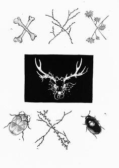 Gothic/black metal patch, punk patch, alternative style, animal patch, ink art, dark art, nature art, deer skull.