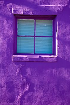 purple wall with blue window    #purple  #turquoise  #wall