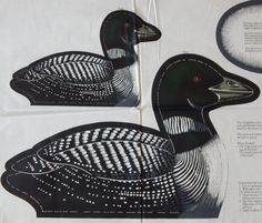 Loon Fabric Panel/2 Loons 18 in. and 11 in. Sew & Stuff/ Wild Bird Collection/ Cranston/ water fowl, home decor, cabin, lodge, makes 2 Loons by RedWickerBasket on Etsy