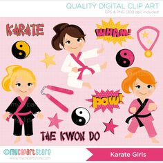 Tae Kwon Do / Karate (girl) Clip Art / Digital Clipart - Instant Download on Etsy, $4.50