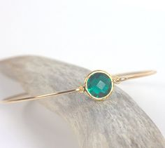 Emerald Quartz and Gold Filled Bangle by TheresaRose $22.00
