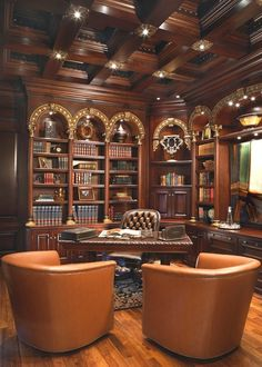 LOVE THE CEILING! interiorstyledesign: Traditional library/study combination with rich mahogany paneling on the walls and ceilings, and gilded accents (via Venetian Office - traditional - home office - phoenix - by VM Concept Interior Design Studio) Home Library Design, Home Office Design, House Design, Office Decor, Office Designs, Office Ideas, Design Studio, Office Art, Office Furniture