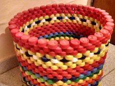 basket of up cycled plastic bottle caps
