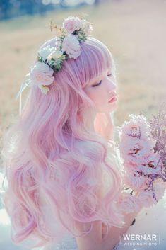 Such a beautiful hair color! Kawaii Hairstyles, Pretty Hairstyles, Wig Hairstyles, Long Curly Hair, Curly Hair Styles, Kawaii Wigs, Opal Hair, Pinterest Hair, Cool Hair Color