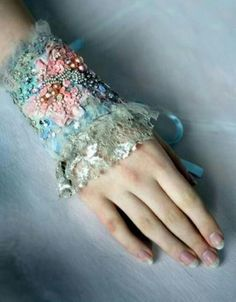 hand embroidered cuff-from recycled vintage textiles. Textile Jewelry, Fabric Jewelry, Shabby Chic, Lace Cuffs, Vestidos Vintage, Marie Antoinette, Beaded Embroidery, Wearable Art, Cuff Bracelets