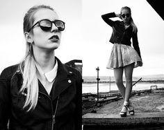 Leather jacket and colored skirt - Paułina Boroday