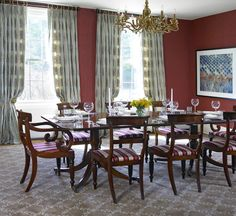 Elegant dining room. Don't miss the contemporary aerial photo for punch