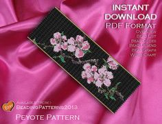 Peyote Pattern Bracelet Cuff Beading Miyuki Delica Size 11 Beads - PDF Download - Japanese Blossom