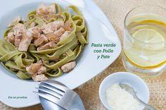 Pasta verde con pollo y paté