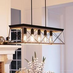 Shop Luxury Industrial Chic Island/Linear Chandelier, x with Modern Farmhouse Style, Charcoal Finish by Urban Ambiance - Overstock - 22811886 Wooden Chandelier, Kitchen Chandelier, Linear Chandelier, Chandelier Lighting, Kitchen Lighting, Island Lighting, Chandeliers, Dining Lighting, Contemporary Chandelier