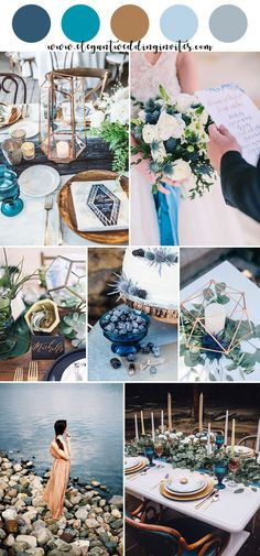 Top 10 Gorgeous Blue Wedding Color Combos for 2019 – ElegantWeddingInvites Top 10 Gorgeous Blue Wedding Color Combos for 2019 romantic modern indigo blue and copper wedding colors Ocean Blue Weddings, Beach Weddings, Indigo Wedding, Dream Wedding, Wedding Day, Wedding Tips, Wedding Table, Wedding Verses, Destination Wedding