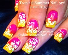 HERE IS A NEW FRIDAY MANI! #summer #hibiscus #nails #TROPICAL #neon #hot #pink #yellow #white #HIBISCUS #diynails #nailsdiy #howto #diy #design #tutorial