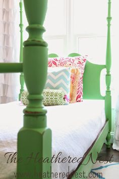 Dumpster Dive makeover... Annie Sloan Antibes Green on Four Poster Bed via Heathered Nest.