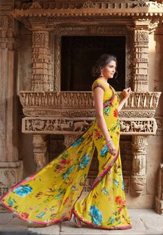 Yellow Color Georgette Designer Saree
