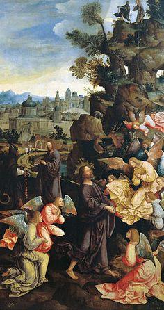 The temptation of Christ, Jacob Cornelisz van Oostsanen, ca 1526 - 1528.