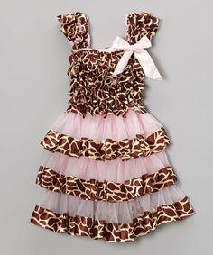 Light Pink Giraffe Ruffle Dress - Infant, Toddler & Girls