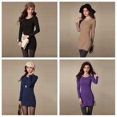 $6.55 New Fashion Women Dress Crew Neck Long Sleeve Solid Color Casual Slim Mini Dress