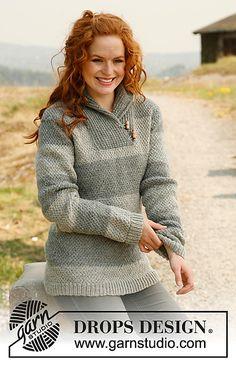 "Ravelry: 135-25 ""Anna"" - Jumper with shawl collar in ""Karisma Superwash"" pattern by DROPS design"