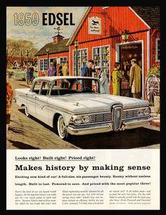 1959 EDSEL Automobile AD Ford Auto Magazine Advertisement Chrome White Walls Style Vintage Car Roadside Americana Graphic Arts Illustration